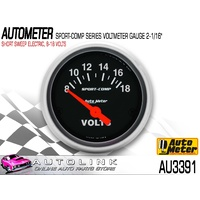 "AUTOMETER AU3391 8-18 VOLT GAUGE SPORT COMP 2-1/16"" SHORT SWEEP BLACK FACE"