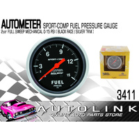"AUTOMETER SPORT-COMP SERIES FUEL PRESSURE GAUGE 2-5/8"", FULL SWEEP MECH 0-15PSI"