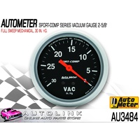 "AUTOMETER SPORT COMP 2-5/8"" FULL SWEEP MECHANICAL VACUUM GAUGE AU3484"