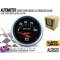 "AUTOMETER SPORT-COMP SERIES OIL PRESSURE GAUGE 2-5/8"" SHORT SWEEP ELECTRIC"