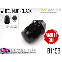"NICE BLACK WHEEL NUTS 7/16"" THREAD 60° TAPER 7/16"" THREAD 19mm HEX B119B x20"