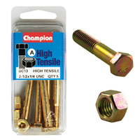 "CHAMPION FASTENERS BC13 HIGH TENSILE UNC BOLTS & NUTS 1/4"" x 2-1/2"" PACK OF 5"