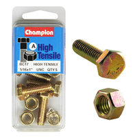 "CHAMPION FASTENERS BC17 HIGH TENSILE UNC BOLTS & NUTS 5/16"" x 1"" PACK OF 5"