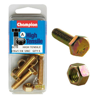 "CHAMPION FASTENERS BC19 HIGH TENSILE UNC BOLTS & NUTS 5/16"" x 1-1/4"" PACK OF 5"