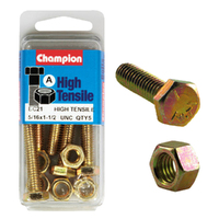 "CHAMPION BC21 HIGH TENSILE FULL THREAD UNC BOLTS & NUTS 5/16"" X 1-1/2"" PACK OF 5"
