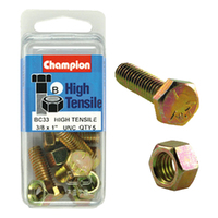 "CHAMPION FASTENERS BC33 HIGH TENSILE UNC BOLTS & NUTS 3/8"" X 1"" PACK OF 5"