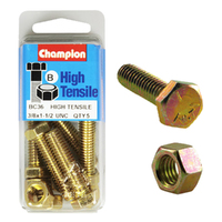 "CHAMPION BC36 HIGH TENSILE FULL THREAD UNC BOLTS & NUTS 3/8"" x 1-1/2"" PACK OF 5"