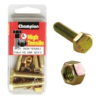 "CHAMPION BF21 HIGH TENSILE FULL THREAD UNF BOLTS & NUTS 5/16"" x 1-1/2"" PACK OF 5"
