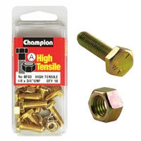"CHAMPION FASTENERS BF3 HIGH TENSILE UNF BOLTS & NUTS 1/4"" x 3/4"" PACK OF 10"