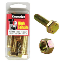 "CHAMPION BF66 HIGH TENSILE FULL THREAD UNF BOLTS & NUTS 1/2"" x 1-1/2"" PACK OF 4"