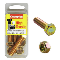 CHAMPION BM109 METRIC HIGH TENSILE BOLTS & NUTS M10 x 1.25 x 45mm PACK OF 3