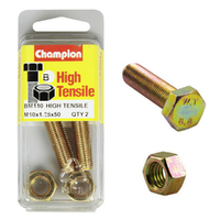 CHAMPION BM110 METRIC HIGH TENSILE BOLTS & NUTS M10 x 1.25 x 50mm PACK OF 2