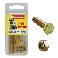 CHAMPION BM124 METRIC HIGH TENSILE BOLTS & NUTS M12 x 1.75 x 50mm PACK OF 2