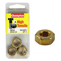 CHAMPION FASTENERS BM168 HIGH TENSILE METRIC HEX NUTS M12 x 1.25 PACK OF 3