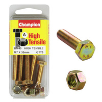 CHAMPION FASTENERS BM40 METRIC HIGH TENSILE BOLTS & NUTS M7 x 35mm PACK OF 5