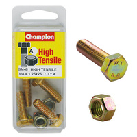 CHAMPION BM48 METRIC HIGH TENSILE BOLTS & NUTS M8 x 1.25 x 25mm PACK OF 4