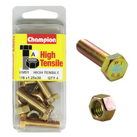 CHAMPION BM51 METRIC HIGH TENSILE BOLTS & NUTS M8 x 1.25 x 30mm PACK OF 4