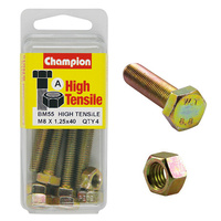 CHAMPION BM55 METRIC HIGH TENSILE BOLTS & NUTS M8 x 1.25 x 40mm PACK OF 4