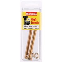 CHAMPION BM70 HIGH TENSILE FULL THREAD BOLTS & NUTS M8 x 1.25 x 100mm PACK OF 2