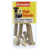CHAMPION BM74 METRIC HIGH TENSILE BOLTS & NUTS M8 x 1.0 x 35mm PACK OF 4