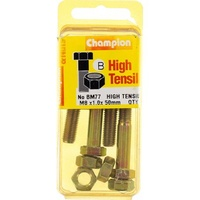 CHAMPION BM77 METRIC HIGH TENSILE BOLTS & NUTS M8 x 1.0 x 50mm PACK OF 4