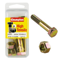 CHAMPION BM91 METRIC HIGH TENSILE BOLTS & NUTS M10 x 1.5 x 65mm PACK OF 3