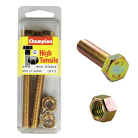 CHAMPION BM99 HIGH TENSILE FULL THREAD BOLTS & NUTS M10 x 1.5 x 100mm PACK OF 2