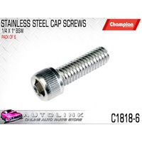 """CHAMPION STAINLESS STEEL CAP HEAD SCREWS 1/4"""" x 1"""" LONG BSW C1818-6 6 PACK"""