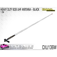 DNA WHITE UHF ANTENNA 6dB 1.3m LONG WITH STAINLESS STEEL SPRING CXU136W