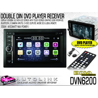 "DNA DOUBLE DIN DVD PLAYER / RECEIVER 6.2"" TOUCH DISPLAY BLUETOOTH + REMOTE"