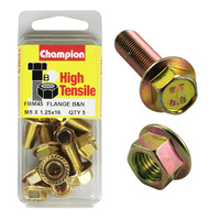CHAMPION FBM45 HIGH TENSILE FLANGE BOLTS & NUTS M8 x 1.25 x 16mm PACK OF 5