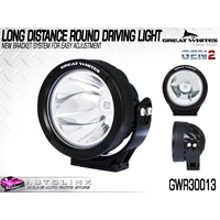 GREAT WHITES LONG DISTANCE ROUND DRIVING LIGHT 9-32V WITH BRACKET GWR30013