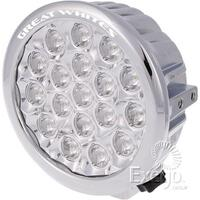 LED DRIVING LIGHT ROUND CHROME GREAT WHITES L.E.D 18 X 5W POLYCARBONATE LENS X2