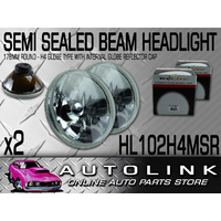 SEMI SEALED BEAM ROUND 178MM HEADLIGHT INSERT WITH REFLECTOR TAKES H4 GLOBE  x2