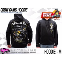 CROW CAMS BLACK HOODIE HOT ROD GARAGE LARGE PRINT ON BACK & CROW ON FRONT MEDIUM