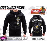CROW CAMS BLACK HOODIE - ZIP FRONT & HOT ROD GARAGE LARGE PRINT ON BACK (3XL)