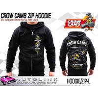 CROW CAMS BLACK HOODIE - ZIP FRONT & HOT ROD GARAGE LARGE PRINT ON BACK (LARGE)
