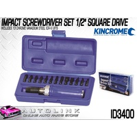 "KINCROME IMPACT SCREWDRIVER SET 1/2"" SQUARE DRIVE 13PCE KIT WITH CASE ( ID3400 )"
