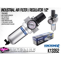 "KINCROME INDUSTRIAL AIR FILTER / REGULATOR 1/2"" INLET/OUTLET LARGE GAUGE K13352"
