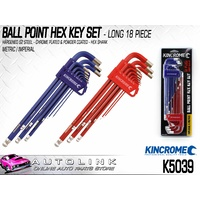 KINCROME BALL POINT HEX KEY SET LONG 18 PIECE METRIC/IMPERIAL ( K5039 )