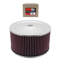"K&N AIR FILTER ROUND CHROME 9"" DIAMETER SUIT 4 BARREL CARB ( 60-1365 )"