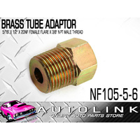 "BRASS TUBE ADAPTOR - SUIT 5/16"" BUNDY TUBE 1/2""x20NF FEM FLARE x 3/8"" NPT MALE"