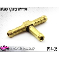 "BRASS 5/16"" 3 WAY HOSE TEE ( P14-05 ) AIR LINE & COMPRESSOR FITTING"