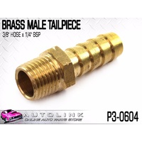 "BRASS MALE TAILPIECE 3/8"" HOSE x 1/4"" BSP MALE THREAD ( P3-0604 ) x1"