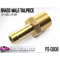 "BRASS MALE TAILPIECE 1/2"" HOSE x 1/2"" BSP MALE THREAD ( P3-0808 ) x1"