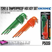 KINCROME TORX & TAMPERPROOF TORX HEX KEY SET LONG - 18 PIECE HARDENED S2 STEEL