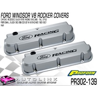 PROFORM ALUMINIUM VALVE COVERS CHROME RAISED LOGO FOR FORD WINDSOR V8 1962-2001