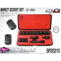 SP TOOLS IMPACT SOCKET SET 1/2DR 6PT 15PC METRIC WITH 2 EXT BARS SP20310