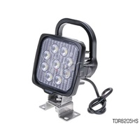 THUNDER MULTI VOLT ALLOY 9 LED SQUARE WORK LIGHT WITH HANDLE BRACKET TDR08205HS