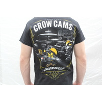 CROW CAMS BLACK T-SHIRT HOTROD GARAGE LARGE PRINT ON BACK & CROW ON FRONT - 2XL
